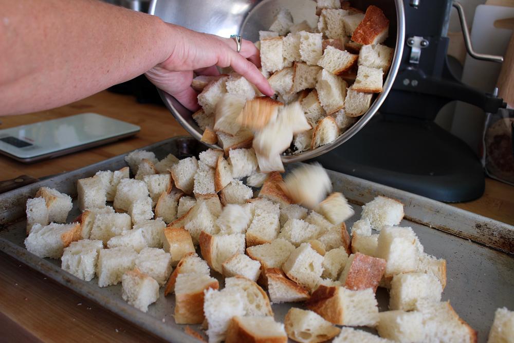 Spread bread on baking sheet, toast, Photo: Wendy Goodfriend