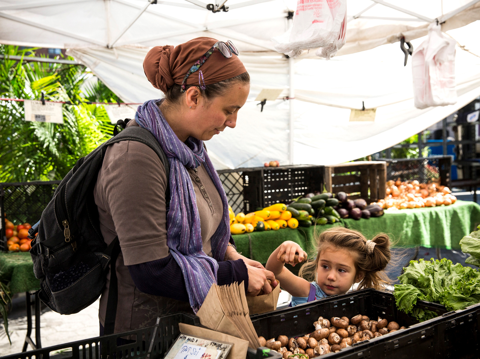 A woman and her daughter shop at a Greenmarket in New York City using Electronic Benefits Transfer, or food stamps. Government data show that fewer people were receiving the benefits in February 2014 than at the peak in December 2012. Photo: Andrew Burton/Getty Images