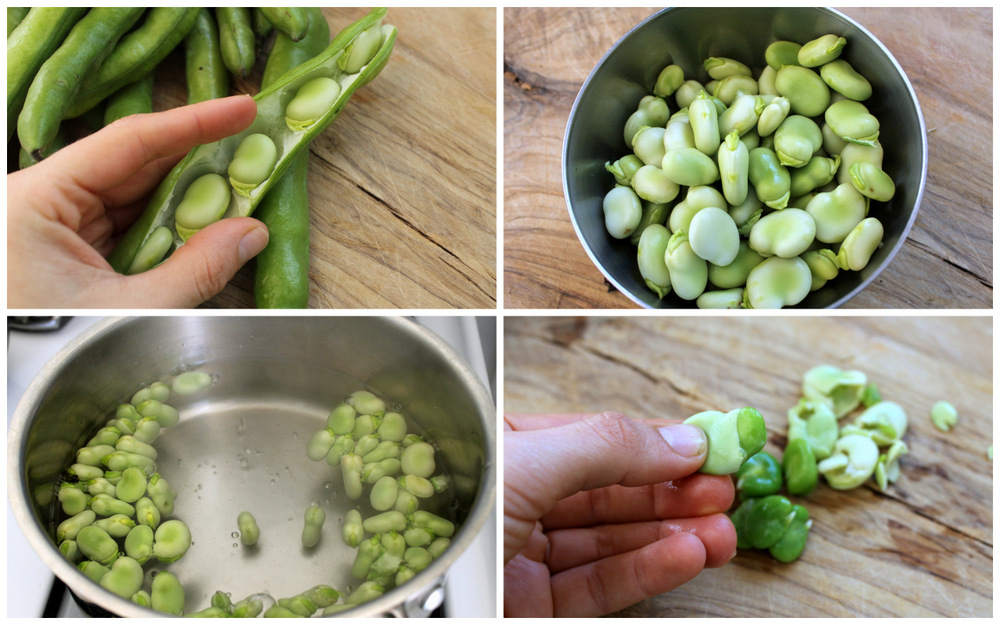 Fava beans require a bit more work. Shuck the beans from the pod, and collect in a bowl. Bring a small saucepan of salted water to a boil, and add shucked beans. Let boil until the beans start to turn bright green, about 1 minute. Drain and immediately rinse under cold water. Using your fingers, squeeze out the tender center from the tough skin. Photo: Kate Williams