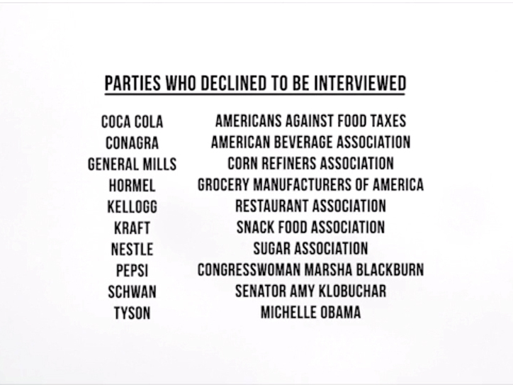 A list of individuals and organizations who declined to be interviewed by the filmmakers of Fed Up. Photo: Courtesy of Radius TWC