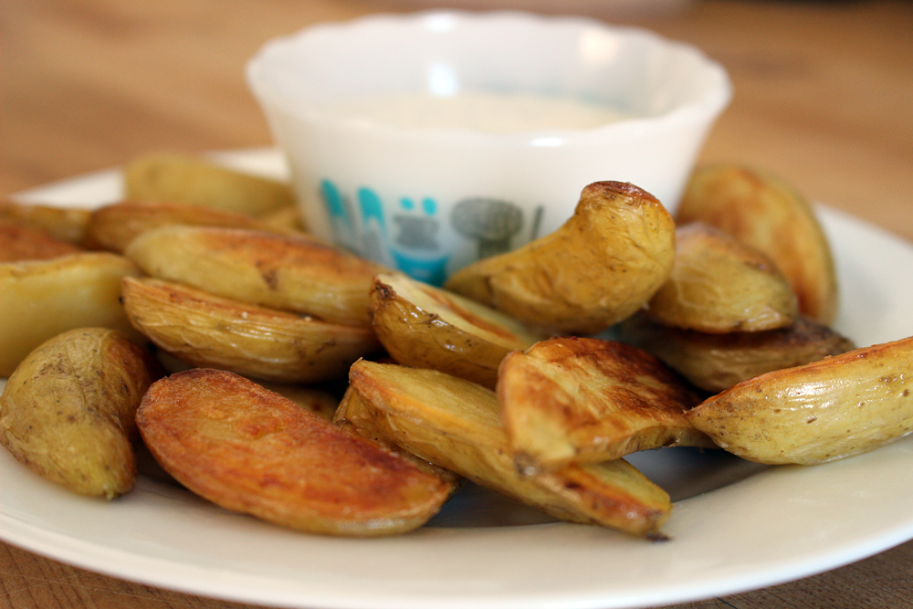Serve roasted fingerlings right away with Ranch dressing on the side for dipping. Photo: Wendy Goodfriend