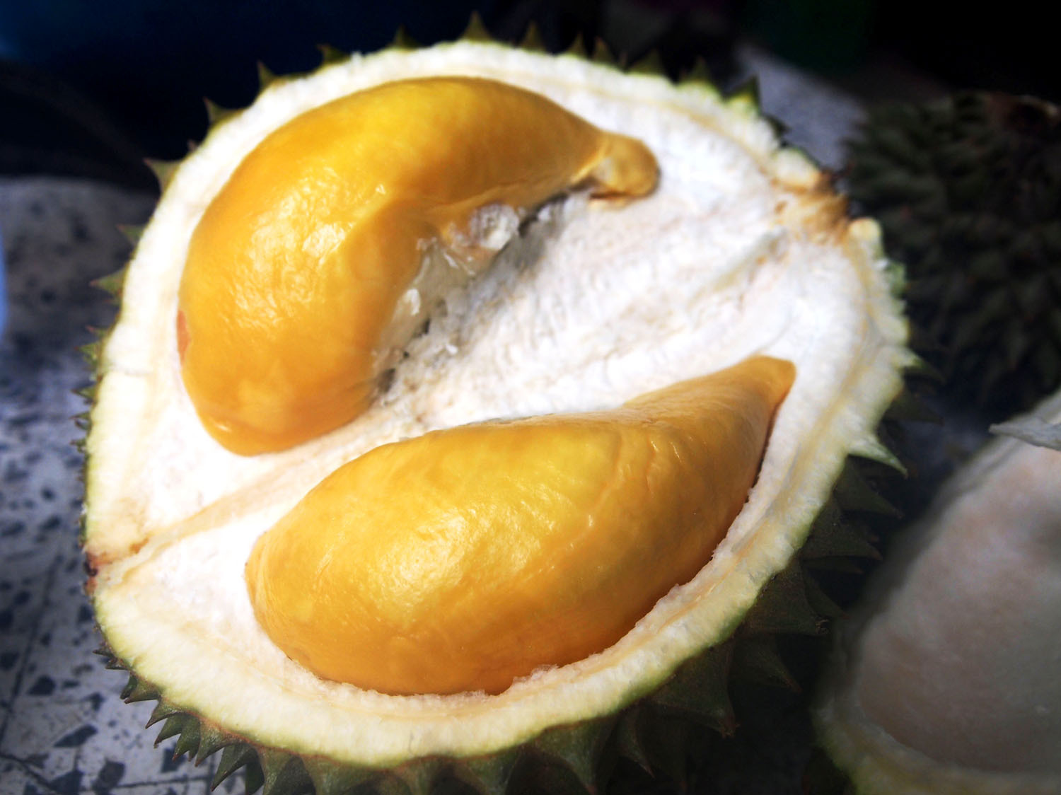 "According to Gasik, the Puangmanee durian's flesh has ""a smooth, chocolatey sensation."" Courtesy of Lindsay Gasik"
