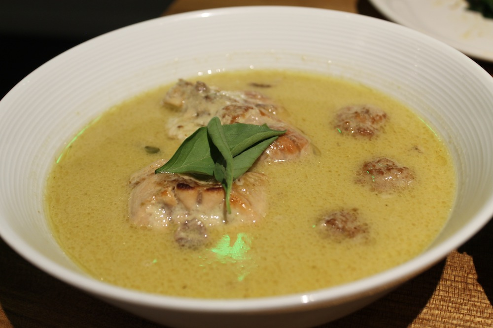 Kin Khao's green curry comes with braised rabbit, meatballs, and Thai eggplant. Photo: Kate Williams