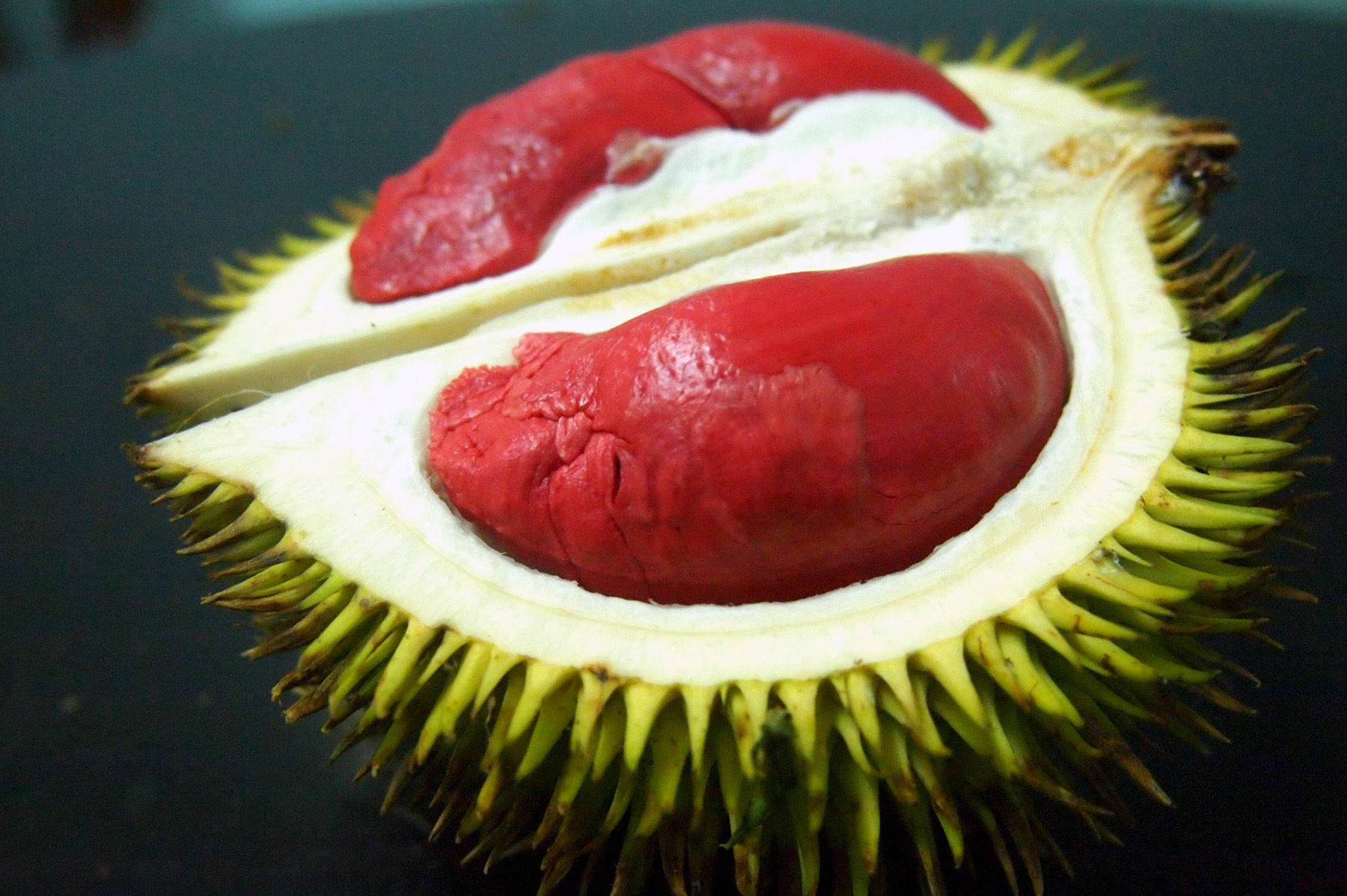 The inside of the Graveolens, a variety of durian that grows in the southernmost parts of Thailand, is sticky and cheese-like. Photo: Courtesy of Lindsay Gasik