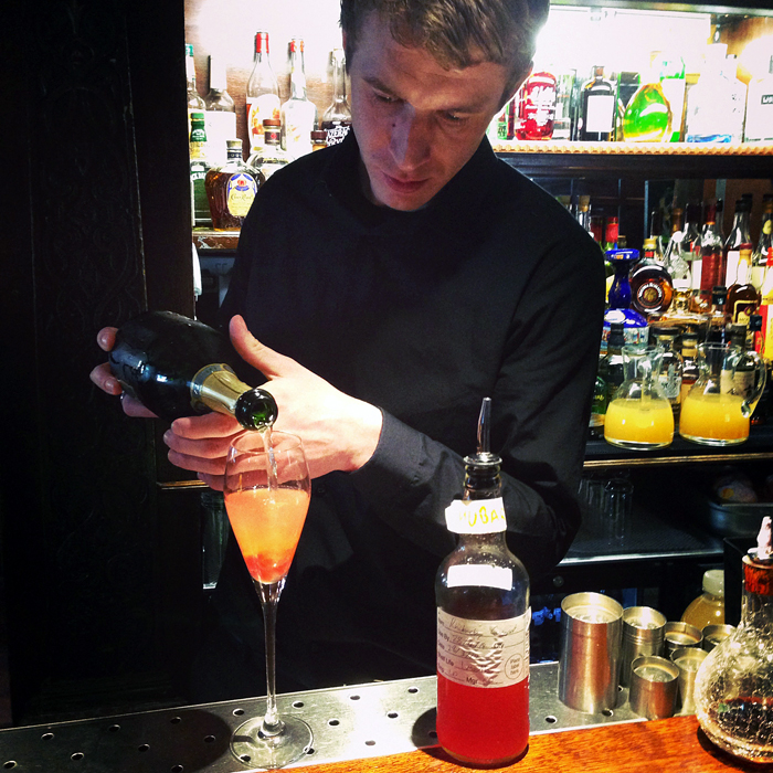 Poached rhubarb and vanilla champagne cocktail at The Hinds Head. Photo: Kim Laidlaw