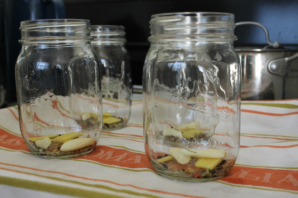 I like to place the spices into the jars before adding the vegetables and brine to ensure that they are evenly distributed. Photo: Kate Williams