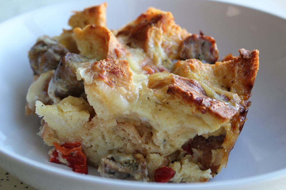 Serving of the Savory Sausage, Roasted Pepper, and Thyme Bread Pudding. Photo: Wendy Goodfriend