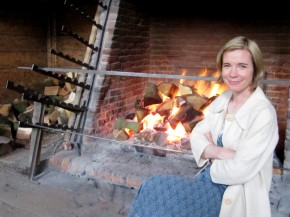 Lucy Worsley, chief curator at the Historic Royal Palaces in London, attempted to roast on a spit powered by a dog in a wheel at the George Inn. Coco didn't fare too well in the wheel. Photo: The Kitchen Sisters