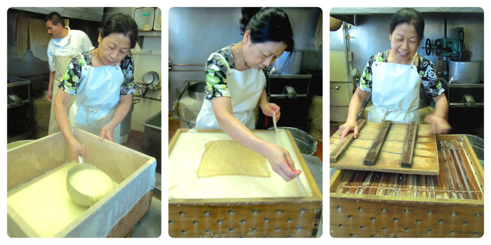 Amy Nozaki in a few of the steps involved in making tofu by hand. Photo: Anna Mindess
