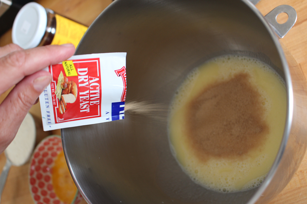 In bowl stir in the yeast