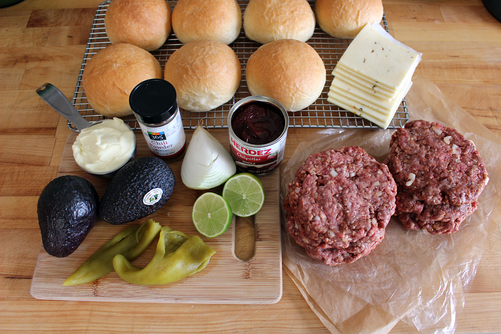 Ingredients for Chili burgers with chipotle mayo, pepper Jack, roasted green chiles, and avocado. Photo: Wendy Goodfriend