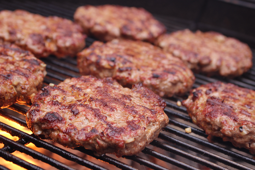 Burgers cooked on top side