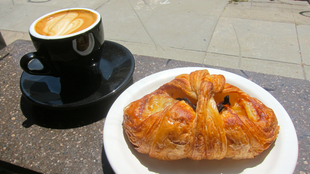 Ham & Cheese Croissant & Cappuccino