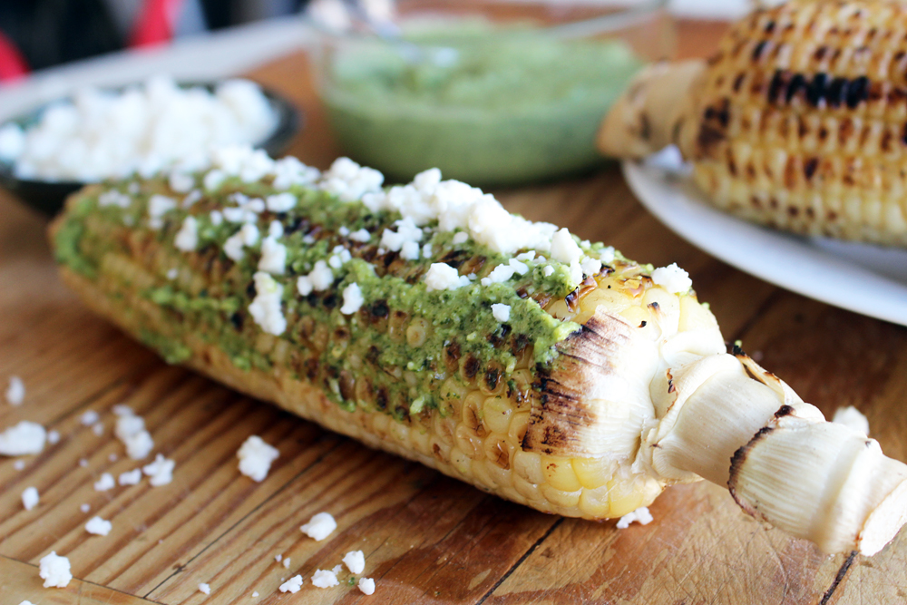 Grilled Corn-On-The-Cob with Lime-Cilantro Pesto. Photo: Wendy Goodfriend