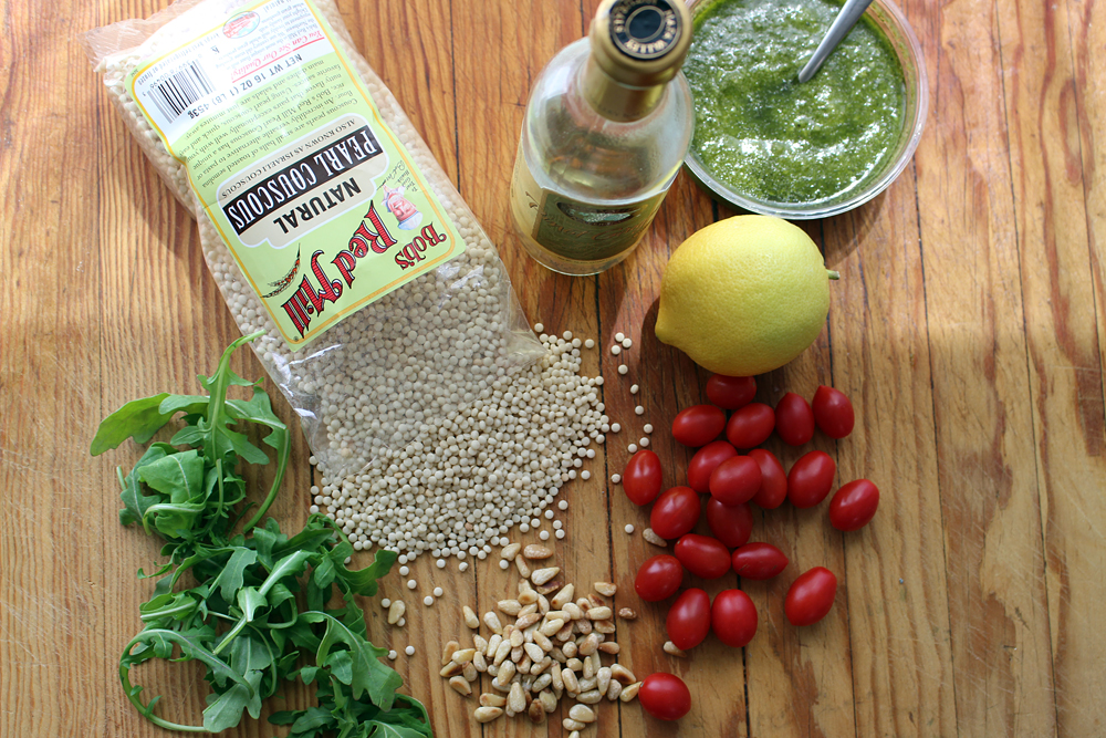 Ingredients for Israeli Couscous, Cherry Tomato, Arugula Salad with Basil Pesto Vinaigrette. Photo: Wendy Goodfriend