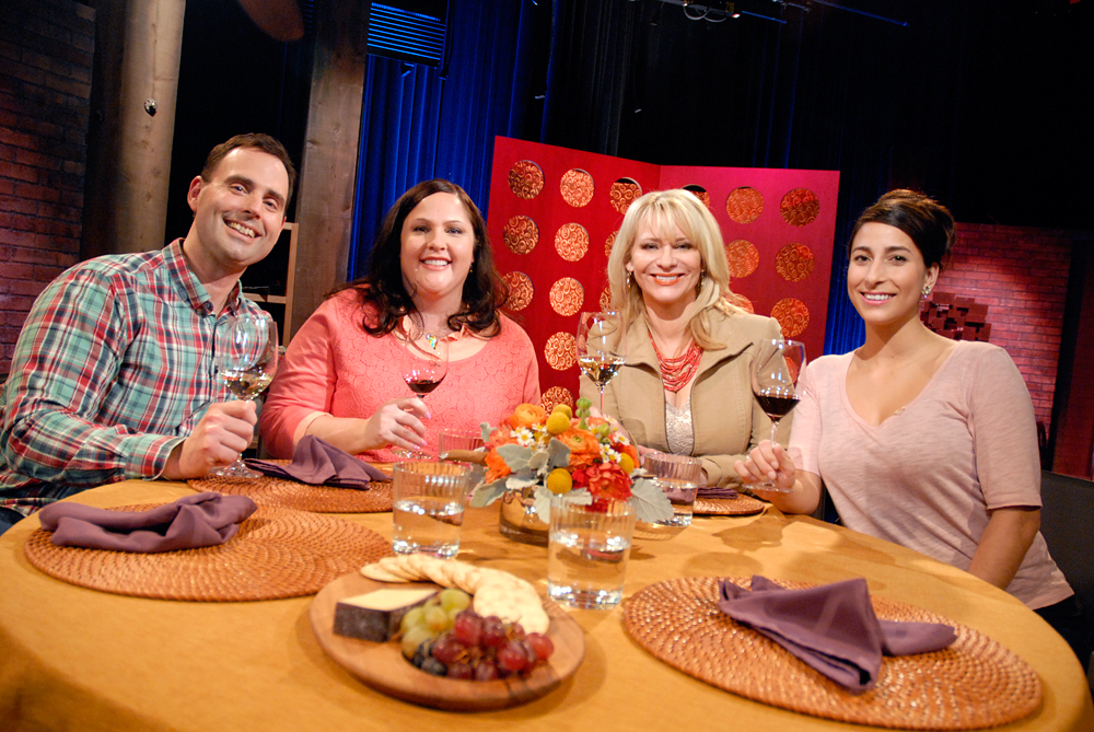 Guests and host Leslie Sbrocco tape the tenth episode of Season 9 of Check, Please! Bay Area at KQED. Photo: Wendy Goodfriend