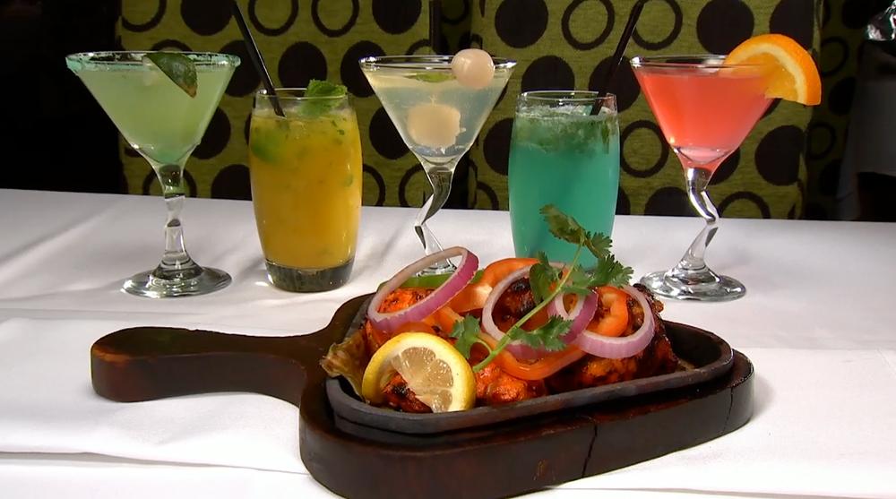 Tandoori Chicken with a variety of cocktails at Sakoon Restaurant