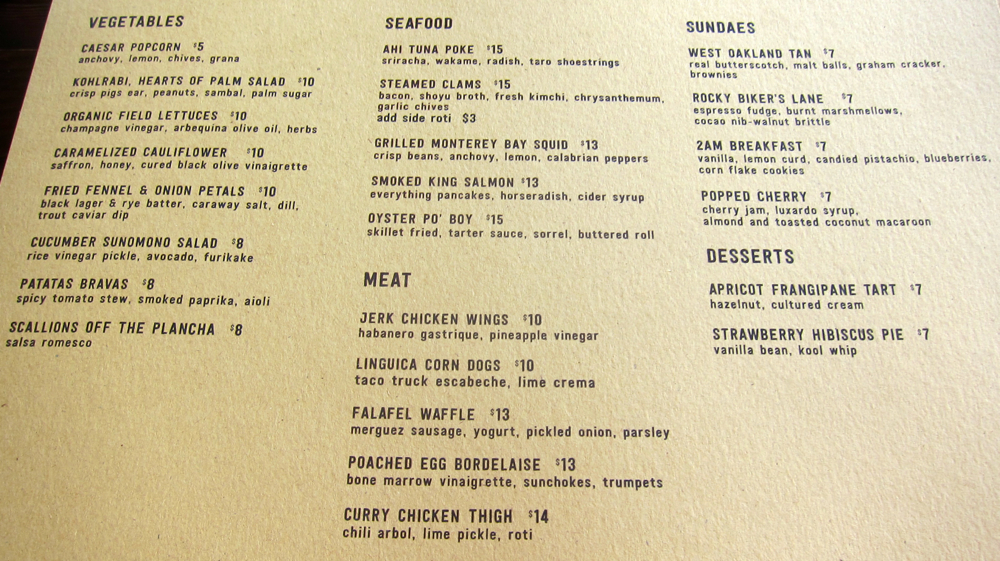 The Dock at Linden Street Food Menu