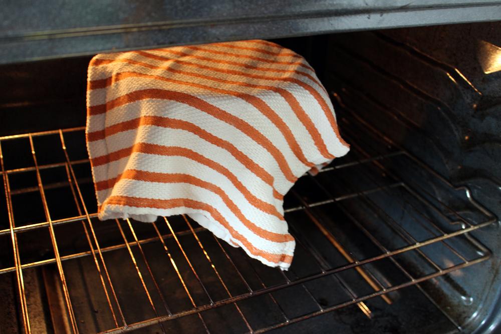 Let dough rise in warm spot