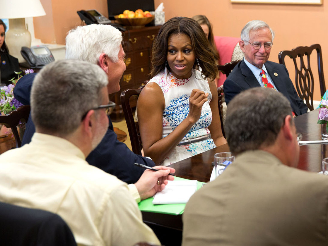 First Lady Michelle Obama at a roundtable for reporters in her office in the East Wing of the White House, on June 18. Photo: Chuck Kennedy/The White House