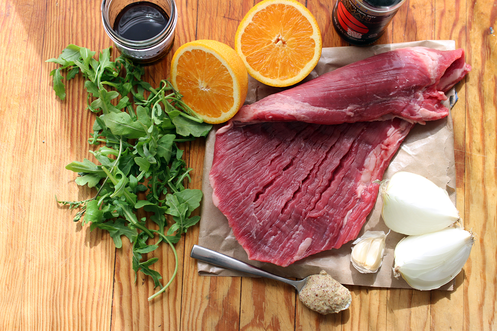 Ingredients for Grilled Marinated Flank Steak with Arugula Salad. Photo: Wendy Goodfriend