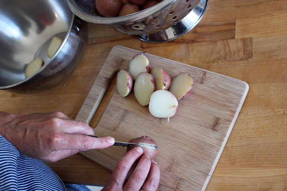 Cut potatoes in half lengthwise