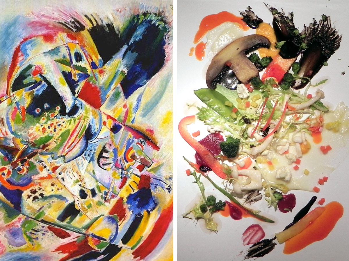 "Kandinsky's ""Painting no. 201,"" on the left, was the inspiration for the salad on the right, which was used to test diners' appreciation of the dish. Photo: Museum of Modern Art; Crossmodal Research Laboratory"