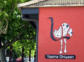 The logo of Yaama Dhiyaan Hospitality Training Center in Sydney features an emu, the totem of Aunty Beryl, the aboriginal elder who heads the program. Among the indigenous tribes of Australia, it is forbidden to eat your totem. Photo: The Kitchen Sisters