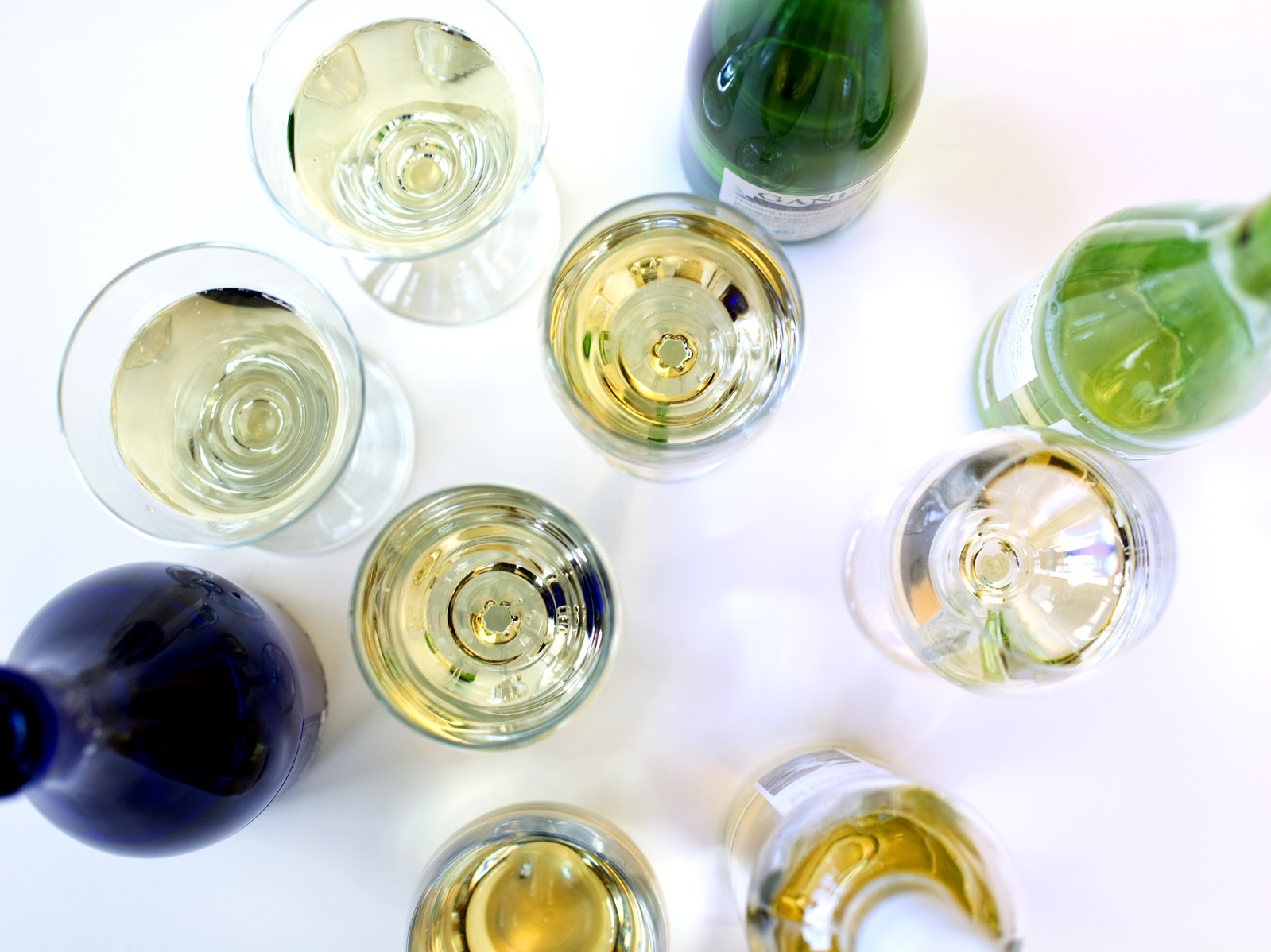 A selection of low-alcohol wines, including a Riesling from Germany, a Vinho Verde from Portugal and a Txakoli from the Basque region of Spain. Photo: Meredith Rizzo/NPR