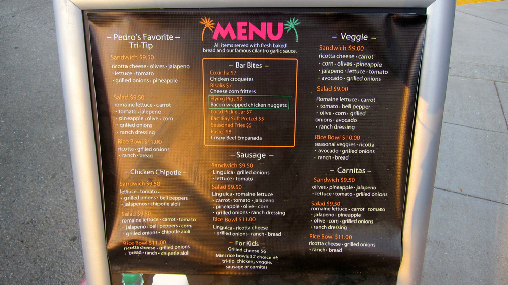 Pedro's Brazil Cafe Menu