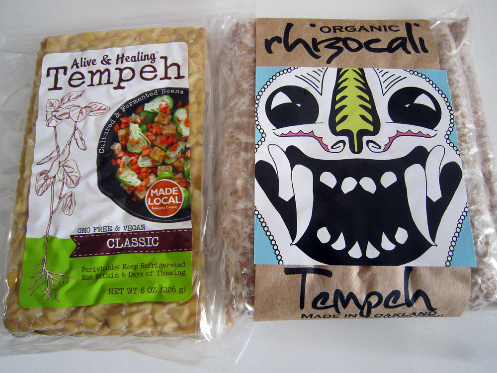 Alive & Healing, made in Windsor, and rhizocali, made in West Oakland, offer fresh, unpasteurized tempeh. Photo: Alix Wall