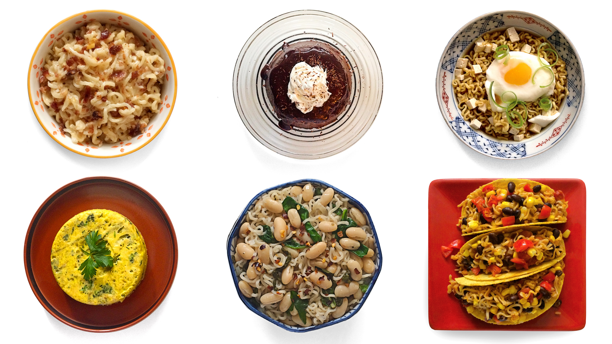 (Top left, clockwise) Macmen N' Cheese; chocolate ramen; udon and egg. (Bottom row) Ramen fritatta; cannellini beans and spinach; and southwest taco from the book Rah! Rah! Ramen. Photo: Sara Childs/ Courtesy of Interactive Direct