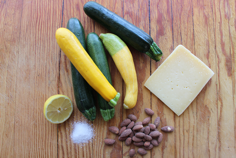 Ingredients for Shaved Zucchini Salad with Lemon, Almonds, and Asiago. Photo: Wendy Goodfriend