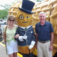 Dashing at any hour, Mr. Peanut refuses to remove the monocle even for this snapshot with one lucky couple. Photo: Donwhite6/Flickr
