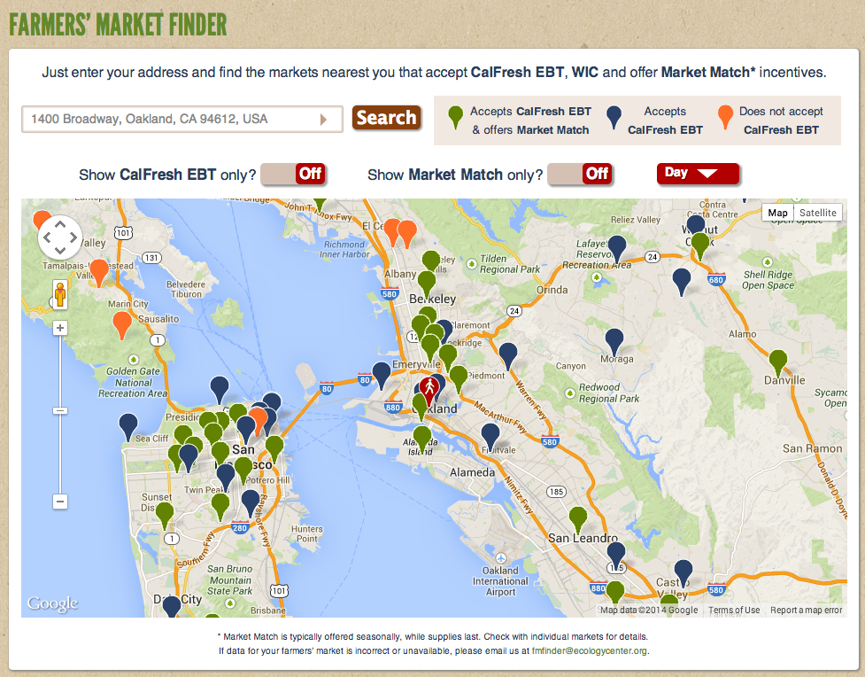 Berkeley's Ecology Center launched this Farmers' Market Finder tool earlier this year.
