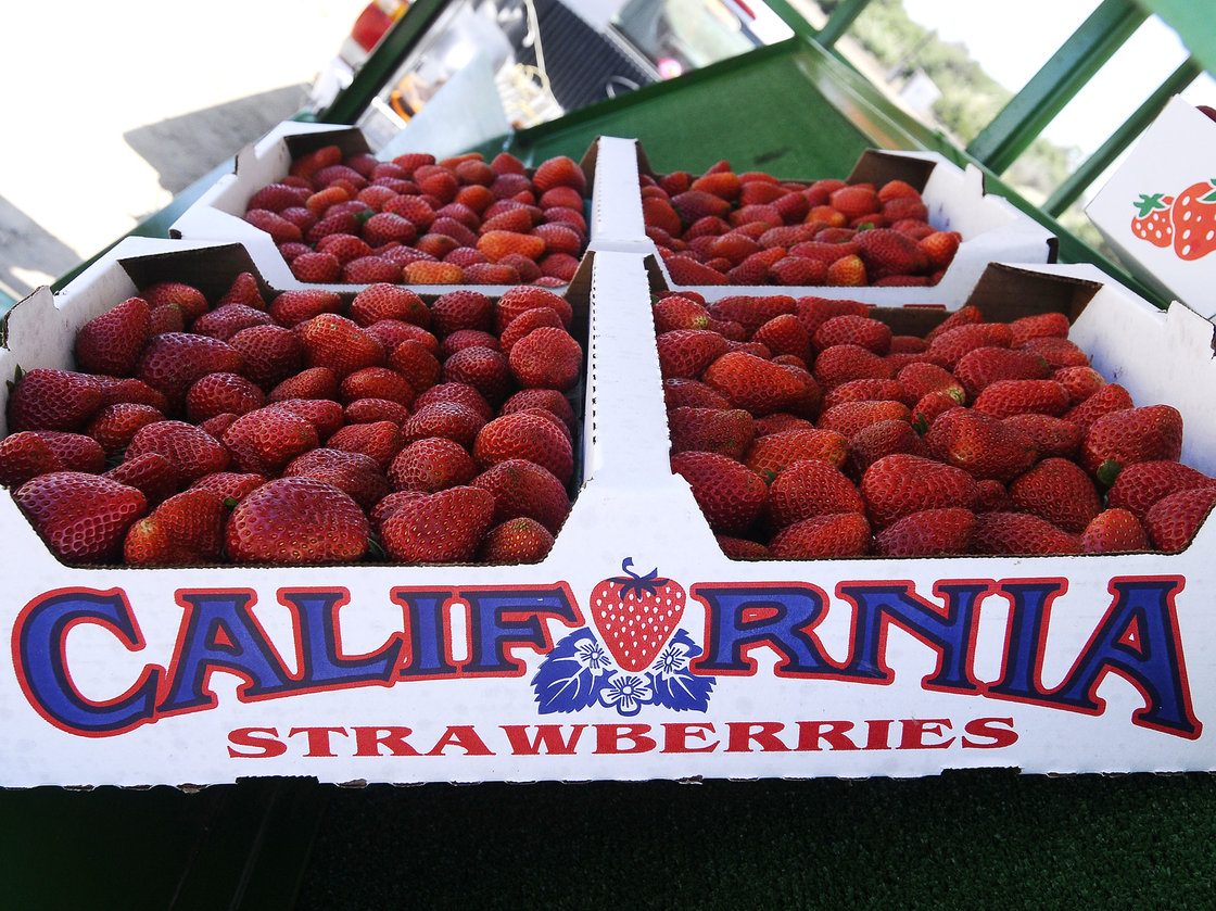 A flat of Albion strawberries at the Bob Jones Ranch fruit stand near Oxnard, Calif. Photo: Zumapress/Corbis