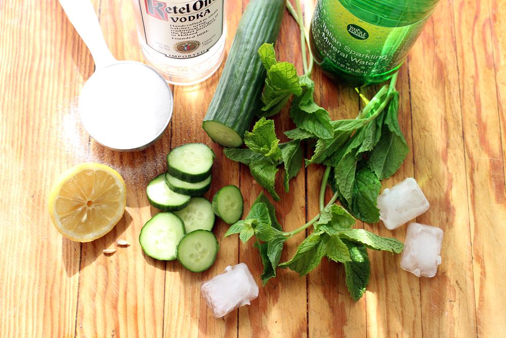 Ingredients for Cucumber-Lemon-Mint Vodka Fizz. Photo: Wendy Goodfriend