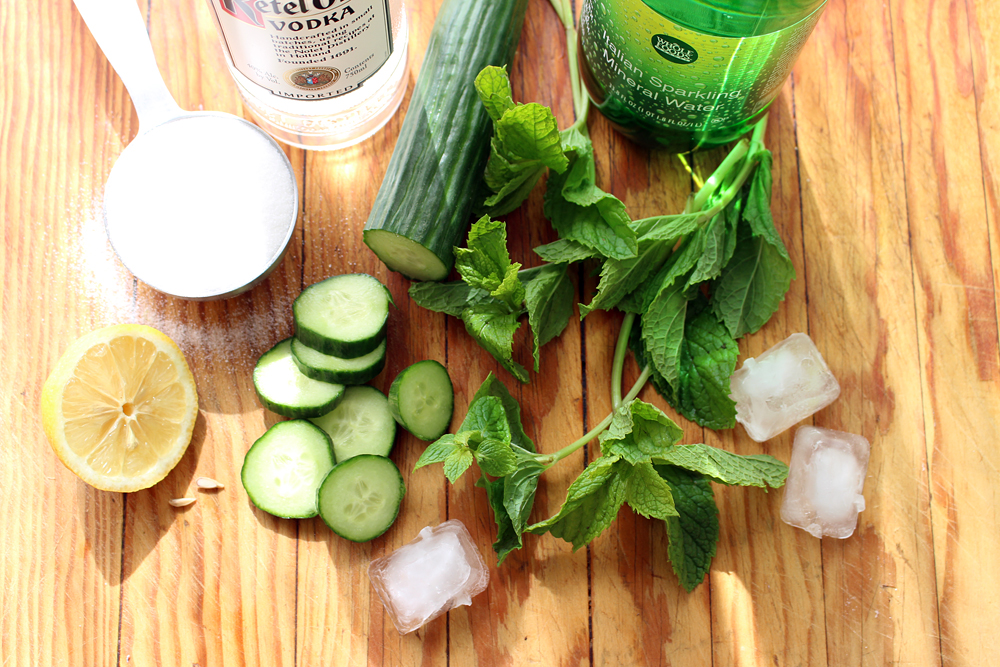 Ingredients for Cucumber-Lemon-Mint Vodka Fizz. Photo: Wendy Goodfriend