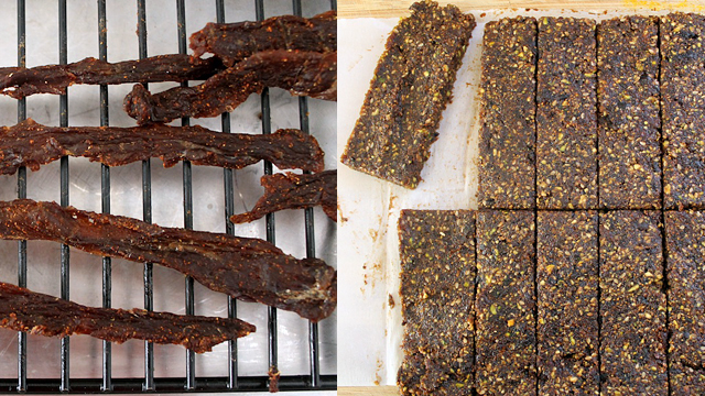"Homemade smoky beef jerky and fig and pistachio ""Lara Bars"" are a great addition to any camping trip. Photo: Kate Williams"