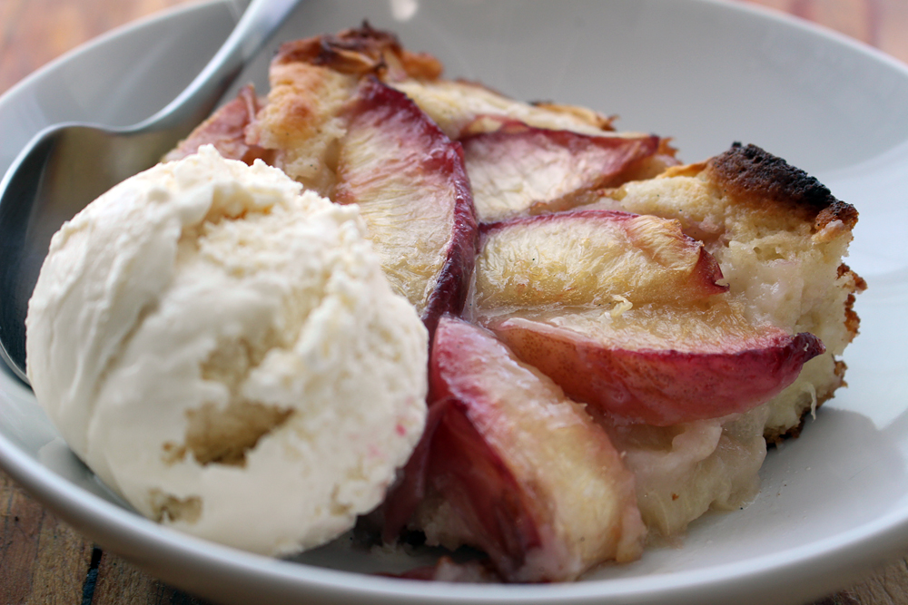 A luscious slice of sweet summer Nectarine Upside-Down Cobbler with vanilla ice cream. Photo: Wendy Goodfriend