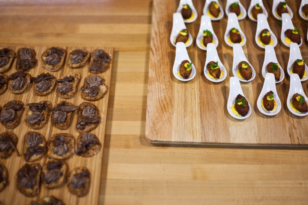 Chicken liver mousse crostini and crispy fried halibut brandade appetizers at the 2014 Chris King Portland Gourmet Century. Photo: Dylan Vanweelden