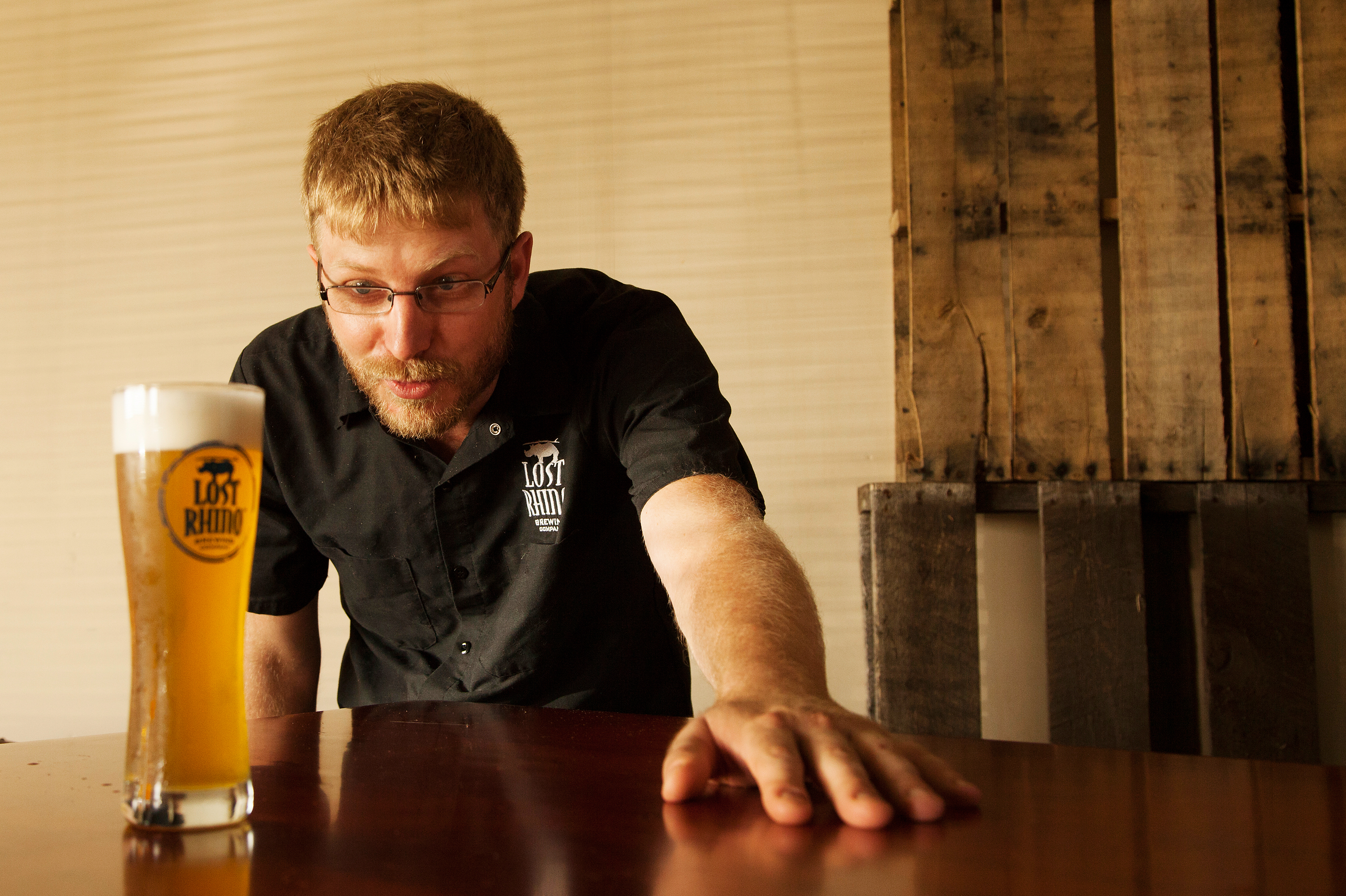 Jasper Akerboom of the Lost Rhino Brewing Co. in Ashburn, Va., tested a dozen yeasts before finding one that was perfect for making bone beer. Photo: Ryan Kellman/NPR