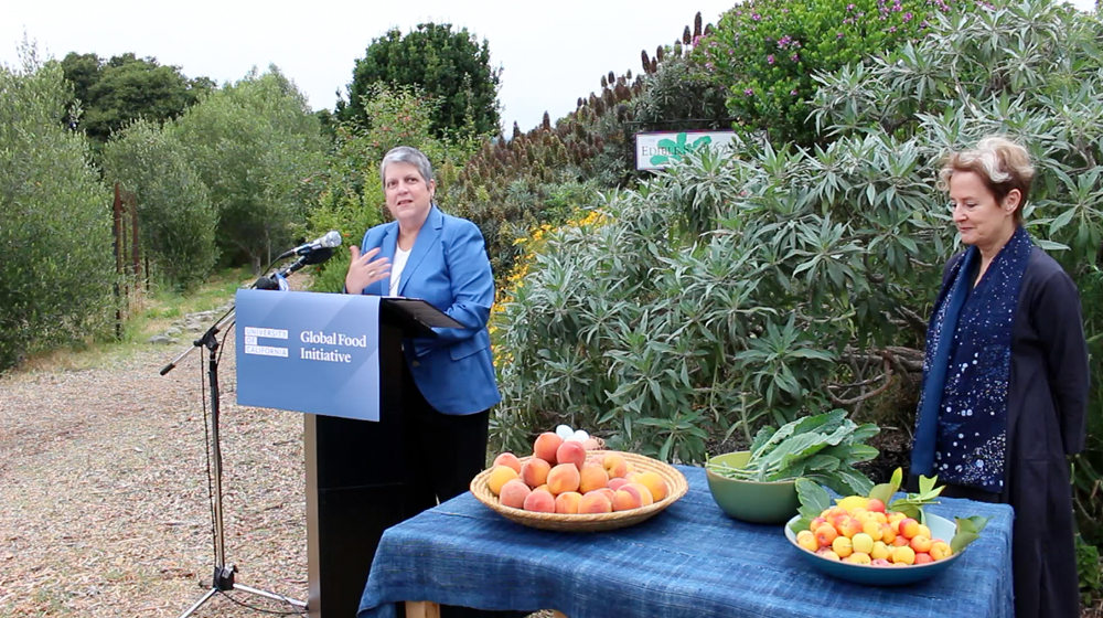UC President Janet Napolitano announces a new Global Food Initiative at the Edible Schoolyard in Berkeley, founded by Alice Waters, also pictured here. Photo: Wendy Goodfriend