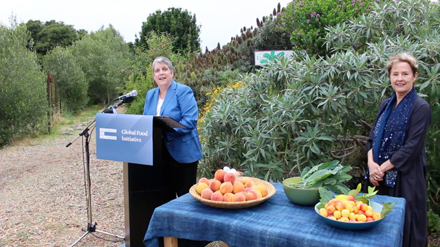 UC President Janet Napolitano announces a new Global Food Initiative at the Edible Schoolyard in Berkeley, founded by Alice Waters, also pictured here.