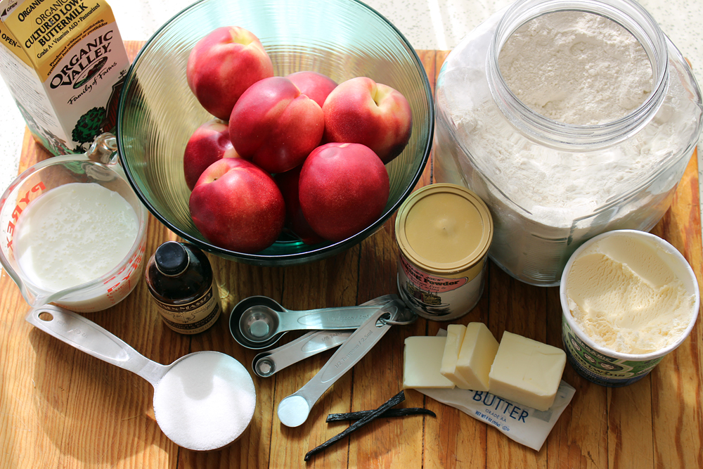 Ingredients for Upside-Down Nectarine Cobbler. Photo: Wendy Goodfriend