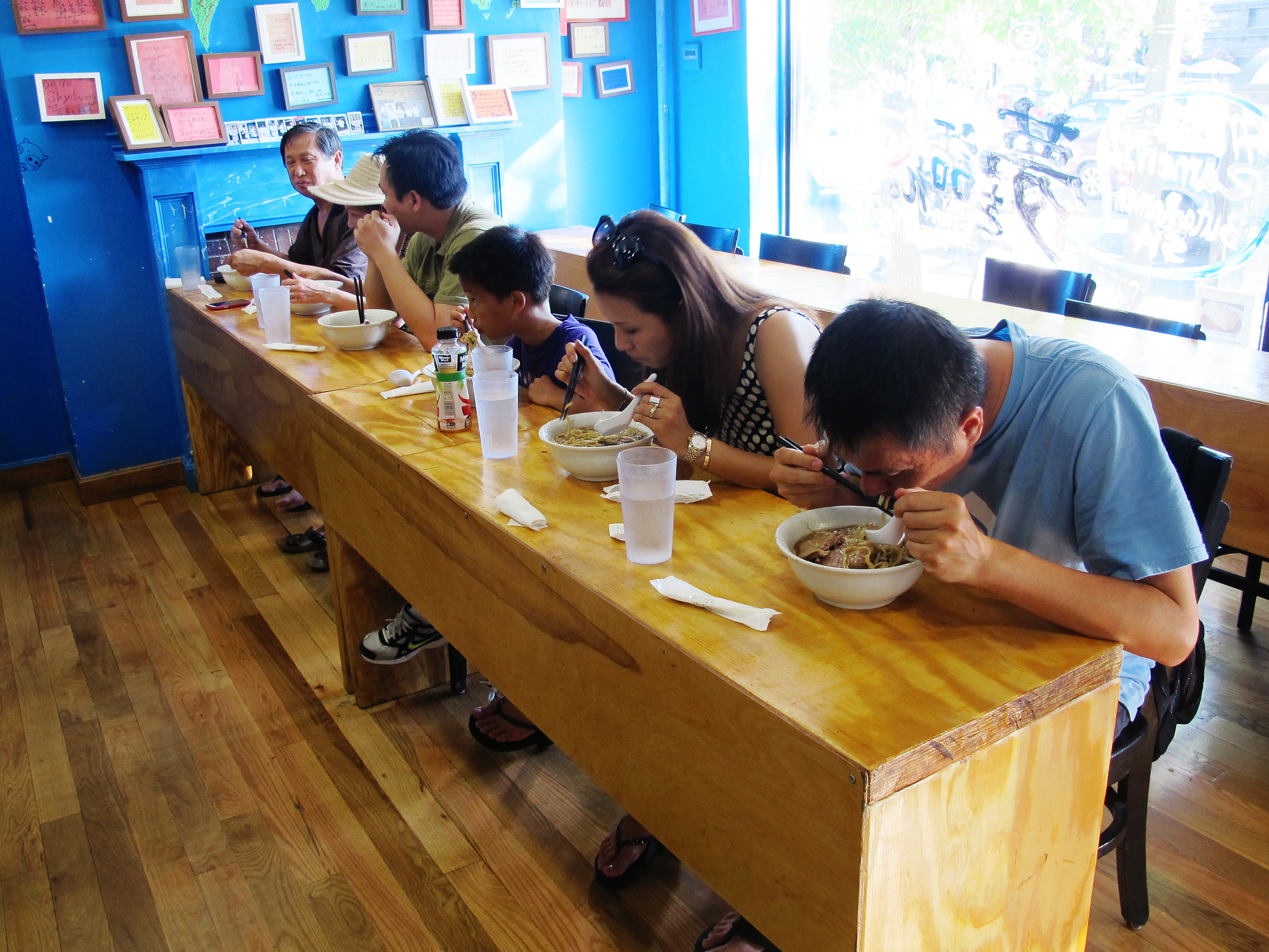 At this shop, finishing the huge, rich bowls of ramen requires fortitude and deep concentration. Photo: Andrea Shea for WBUR