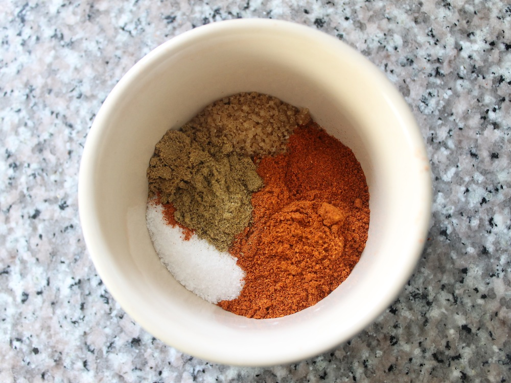 This smoky rub includes sugar, smoked paprika, chile powder, chipotle chile power, cumin, and coriander in addition to kosher salt. Photo: Kate Williams