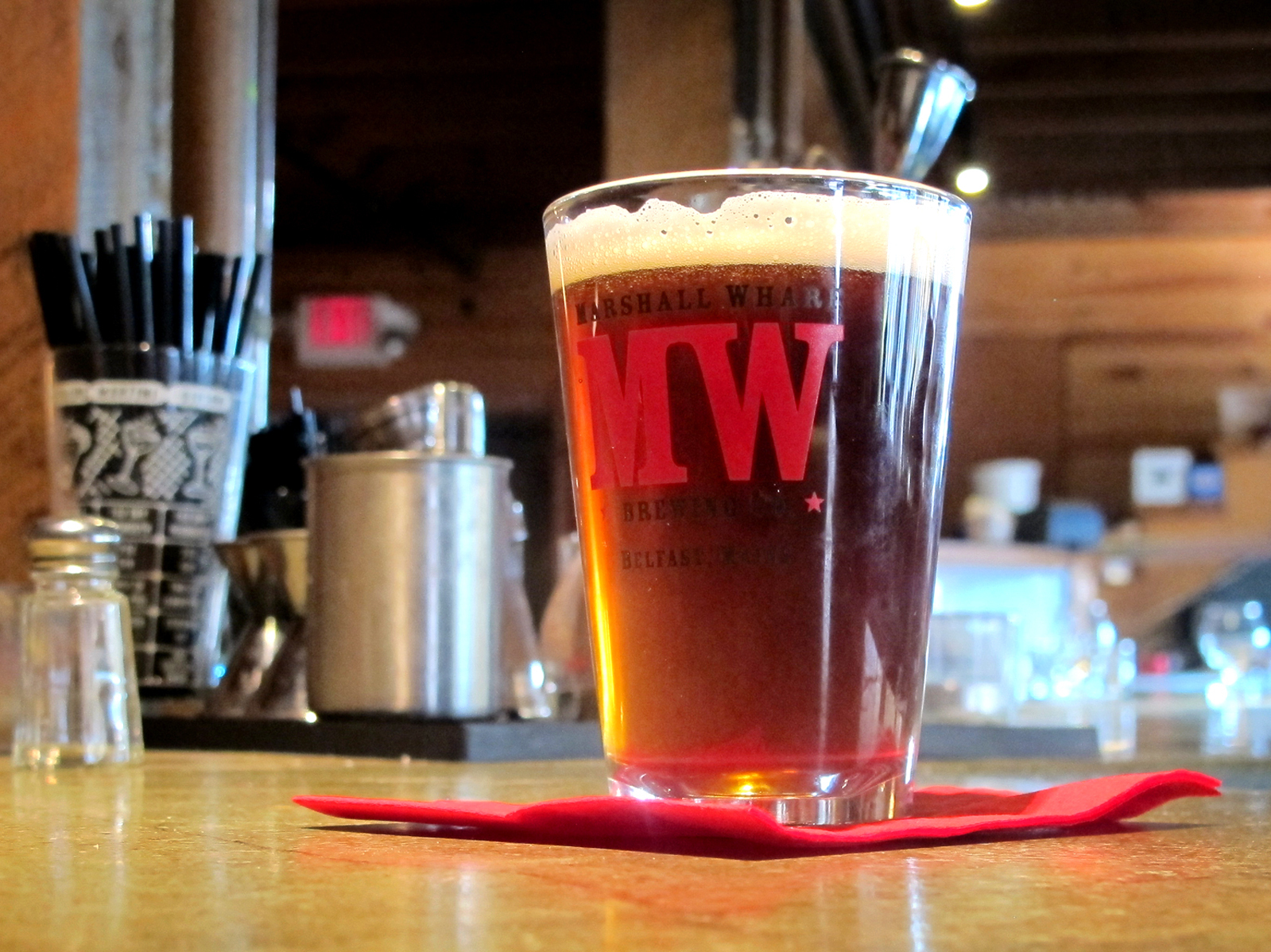 A glass of the seaweed beer created by Marshall Wharf Brewing Co. in Belfast, Maine. Photo: Jay Field/MPBN