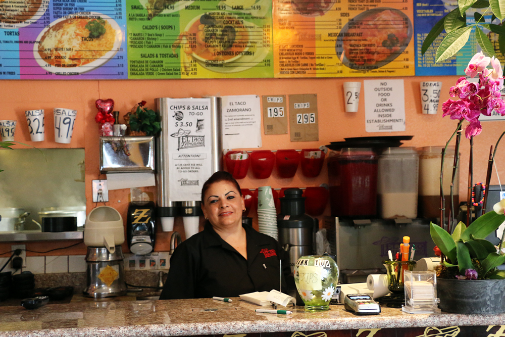 Long-time server Soca at El Taco Zamorano.