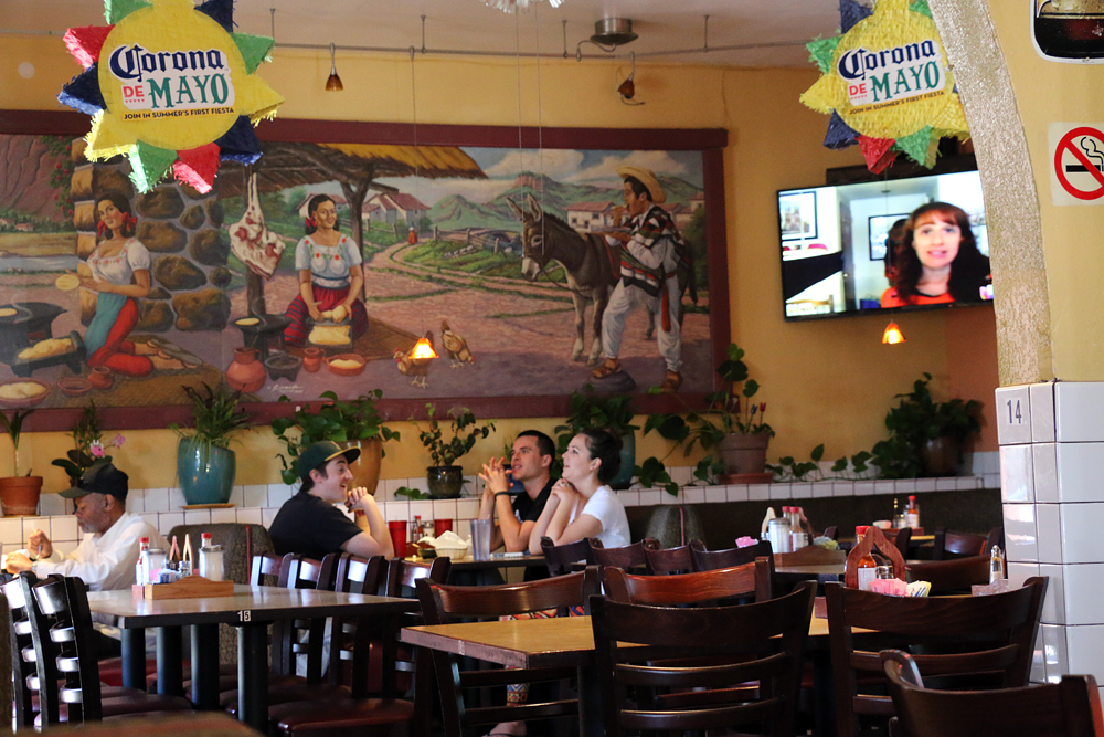 The dining room, with mural, at El Taco Zamorano